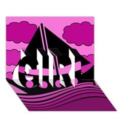 Boat - magenta GIRL 3D Greeting Card (7x5)