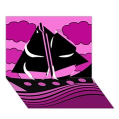 Boat - magenta Clover 3D Greeting Card (7x5)