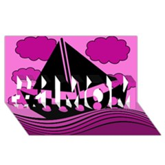 Boat - magenta #1 MOM 3D Greeting Cards (8x4)