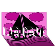 Boat - magenta BELIEVE 3D Greeting Card (8x4)