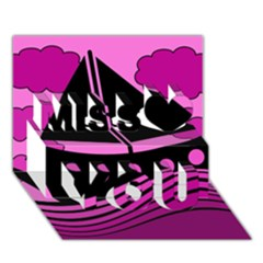 Boat - magenta Miss You 3D Greeting Card (7x5)