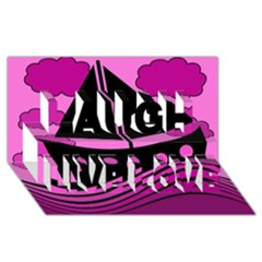 Boat - magenta Laugh Live Love 3D Greeting Card (8x4)