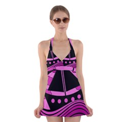 Boat   Magenta Halter Swimsuit Dress