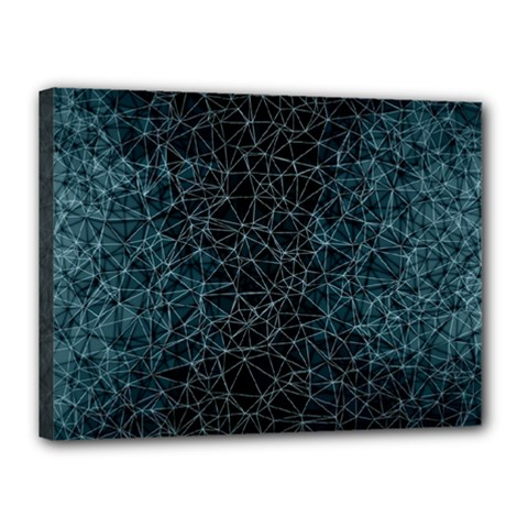Polygonal And Triangles In Blue Colors  Canvas 16  X 12