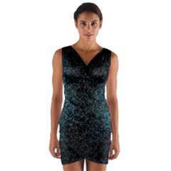 Polygonal And Triangles In Blue Colors  Wrap Front Bodycon Dress