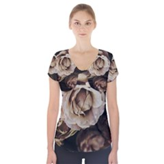 Roses Flowers Short Sleeve Front Detail Top