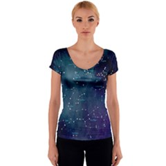 Constellations Women s V-Neck Cap Sleeve Top