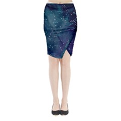 Constellations Midi Wrap Pencil Skirt