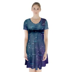 Constellations Short Sleeve V Neck Flare Dress