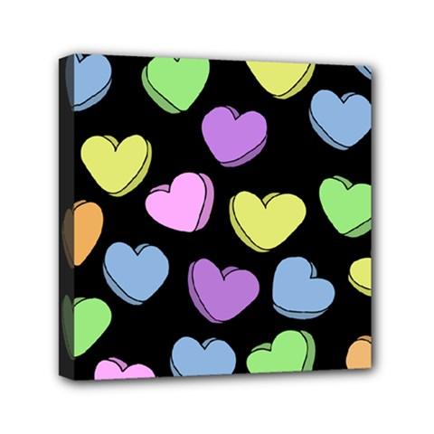 Valentine s Hearts Mini Canvas 6  x 6