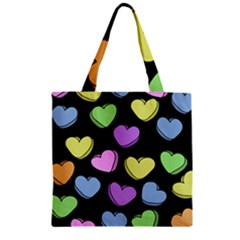 Valentine s Hearts Zipper Grocery Tote Bag