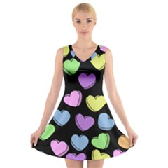 Valentine s Hearts V-Neck Sleeveless Skater Dress