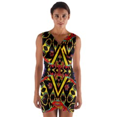 TIME SPACE Wrap Front Bodycon Dress