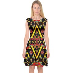 TIME SPACE Capsleeve Midi Dress