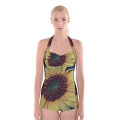 Sunflower Photography  Boyleg Halter Swimsuit