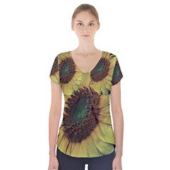 Sunflower Photography  Short Sleeve Front Detail Top