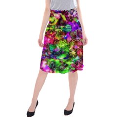 Pink Floral Abstract Midi Beach Skirt