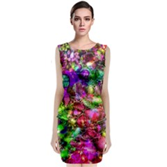Pink Floral Abstract Classic Sleeveless Midi Dress