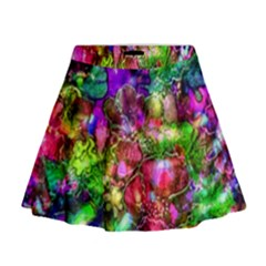 Pink Floral Abstract Mini Flare Skirt