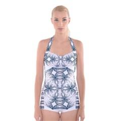 Mandala Blue And White Boyleg Halter Swimsuit