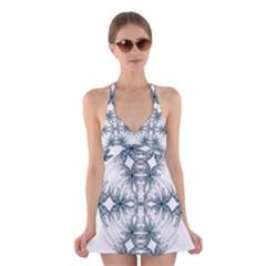 Mandala Blue And White Halter Swimsuit Dress