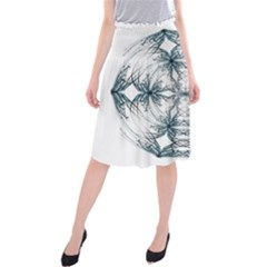 Mandala Blue And White Midi Beach Skirt
