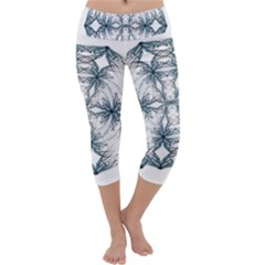 Mandala Blue And White Capri Yoga Leggings