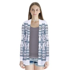 Mandala Blue And White Drape Collar Cardigan