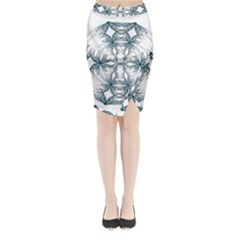 Mandala Blue And White Midi Wrap Pencil Skirt