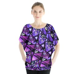 Blue purple Shattered Glass Blouse