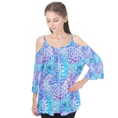 Boho Flower Doodle On Blue Watercolor Flutter Tees