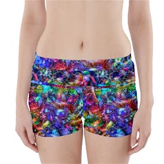 Blue Floral Abstract Boyleg Bikini Wrap Bottoms