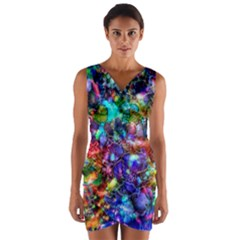 Blue Floral Abstract Wrap Front Bodycon Dress