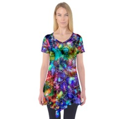 Blue Floral Abstract Short Sleeve Tunic