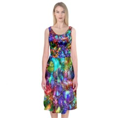 Blue Floral Abstract Midi Sleeveless Dress