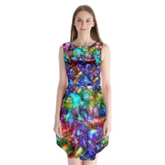 Blue Floral Abstract Sleeveless Chiffon Dress