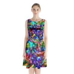 Blue Floral Abstract Sleeveless Chiffon Waist Tie Dress