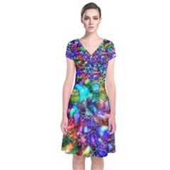 Blue Floral Abstract Short Sleeve Front Wrap Dress