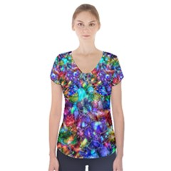 Blue Floral Abstract Short Sleeve Front Detail Top