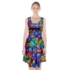 Blue Floral Abstract Racerback Midi Dress