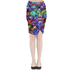 Blue Floral Abstract Midi Wrap Pencil Skirt