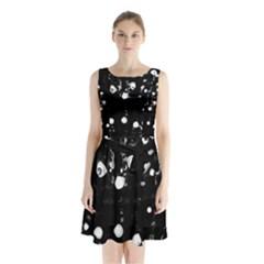 Black dream  Sleeveless Chiffon Waist Tie Dress