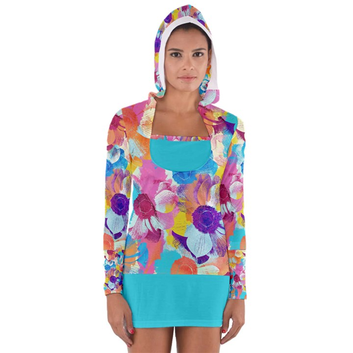 Anemones Women s Long Sleeve Hooded T-shirt