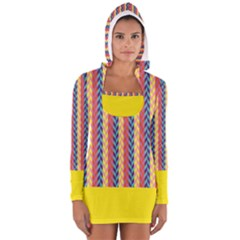 Colorful Chevron Retro Pattern Women s Long Sleeve Hooded T Shirt