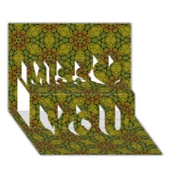 Camo Abstract Shell Pattern Miss You 3D Greeting Card (7x5)