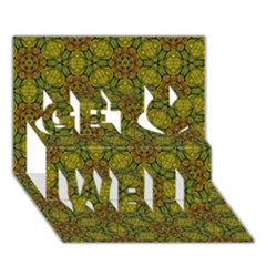 Camo Abstract Shell Pattern Get Well 3D Greeting Card (7x5)