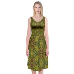 Camo Abstract Shell Pattern Midi Sleeveless Dress