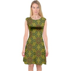 Camo Abstract Shell Pattern Capsleeve Midi Dress