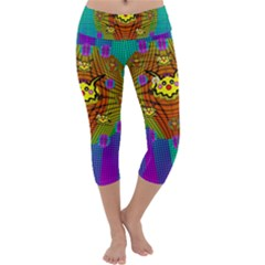 Flower Mice In Peace Balls Pop Art Capri Yoga Leggings