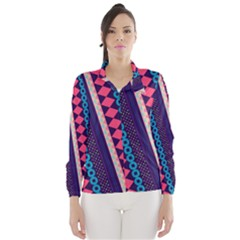 Purple And Pink Retro Geometric Pattern Wind Breaker (women)